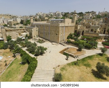 abraham cave juda and sumeria hebron drone high photo kasba view holy place in israel 2016 indapendence day high quality