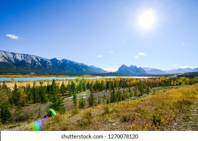 Abraham Lake with autumn leaves, Banff National Park, Canadian Rockies, Alberta, Canada
