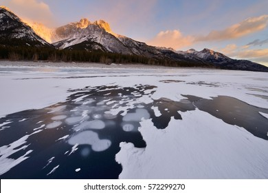 Abraham Lake In Winter Sunrise? Kootenay Plains? Alberta Canada
