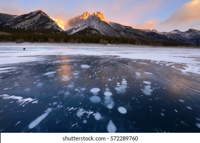 Abraham Lake In Winter Sunrise Kootenay Plains Alberta Canada