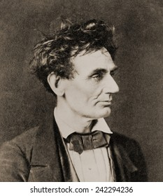 Abraham Lincoln (1809-1865), on February 28, 1857, prior to Senate nomination. By Alexander Hesler, Chicago, Illinois.