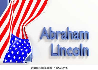 Abraham Lincoln (American politician, 16th President of the United States) with US flag. 3d Rendering. WASHINGTON, DC - MAY 28, 2016