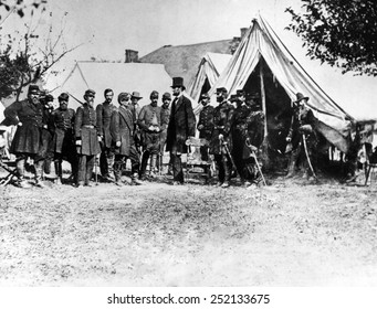 Abraham Lincoln at Antietam, (l-r) Col. Alexander S. Webb, Gen. George B. McClellan, Scout Adams, Dr. Jonathan Letterman, OCtober 3, 1862.