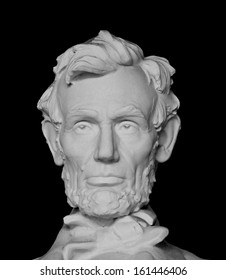 Abraham Lincoln bust isolated on black background