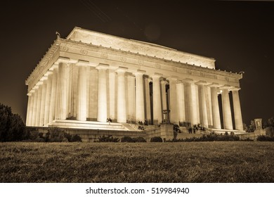 Abraham Lincoln Memorial National Mall Night Sunset Black and White Beige Vintage