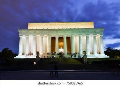 Abraham Lincoln Memorial in night, Washington DC, USA