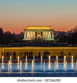 Abraham Lincoln Memorial and World War II Memorial at night - Washington DC, United States