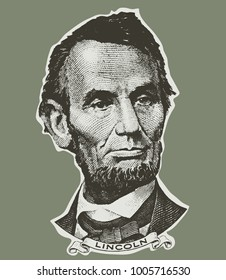 Abraham Lincoln portrait. isolated. US 5 dollar