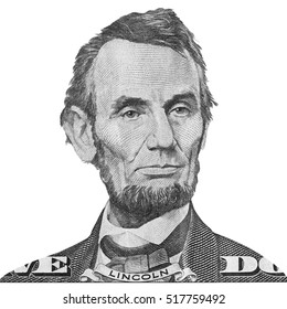 Abraham Lincoln Portraits of America president and politicians from dollars isolated on white background. This has clipping path.