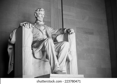 Abraham Lincoln Statue at Lincoln Memorial - Washington DC, United States. Black and white picture.