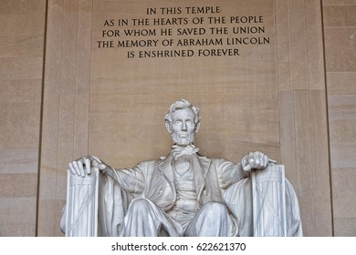 Abraham Lincoln statue at Washington DC Memorial close up