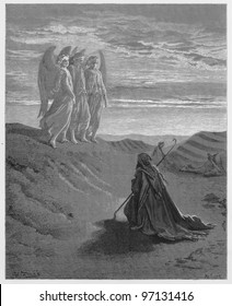 Abraham and the Three Angels - Picture from The Holy Scriptures, Old and New Testaments books collection published in 1885, Stuttgart-Germany. Drawings by Gustave Dore.
