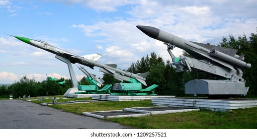 Abram-Mys, Murmansk/Russia - July 29, 2017: Soviet-made anti-aircraft missiles C-200 (SA-5 Gammon), C-75 (SA-2 Guideline), C-125 (SA-3 Goa) and a fighter interceptor SU-15 as monuments.