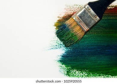 Abrasive acrylic paint from the main colors with a brush