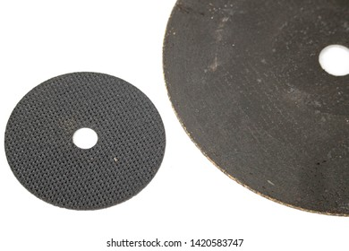 abrasive disc cut off wheels used big and small size comparison safety work isolated in white background close up photo