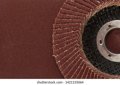 Abrasive disk  with sandpaper closeup