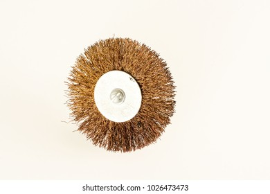 An abrasive drill brush photographed over white background