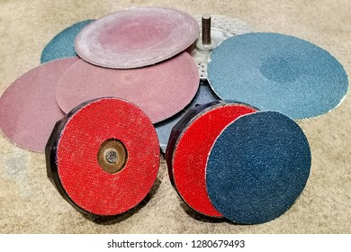 Abrasive flap grinding discs on emery paper.