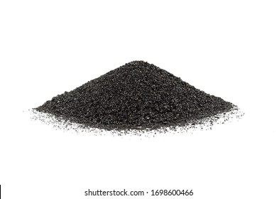 Abrasive powder black superslut in the form of slides on white background. Granulated slag is used for cleaning metal surfaces, from rust and paint.