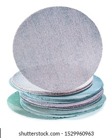 abrasive tools adhesive dustless sanding discs stack with randoms grits isolated