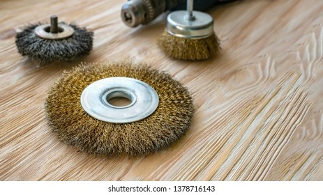 abrasive tools for brushing wood and giving it texture. Wire brushes on treated wood. Copy space