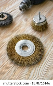 abrasive tools for brushing wood and giving it texture. Wire brushes on treated wood