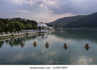 Abrau-Durso, Krasnodar Territory, Russia July 12, 2018. A beautiful view of Abrau lake in the village of Abrau-Dyurso
