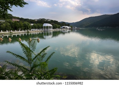 Abrau-Durso, Krasnodar Territory, Russia July 12, 2018. A beautiful view of Abrau lake in the village of Abrau-Durso