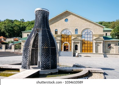 ABRAU-DURSO, Russia, 12 september 2017: Monument fountain in the shape of a bottle, 12 september 2017.