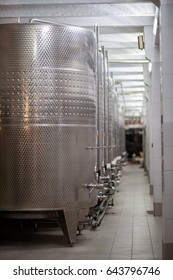ABRAY-DURSO, RUSSIA - MAY 13 - 2017: The metal vats on wine production at the factory production of wine Abrau-Durso om May 13th, 2017.