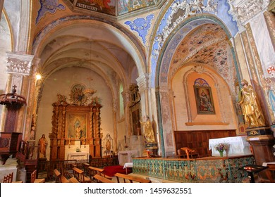 ABRIES, QUEYRAS, FRANCE - JUNE 29, 2019: The colorful interior of Saint Pierre (and Saint Antoine) church, decorated with frescoes and located in Abries village, Queyras Regional Natural Park, Alps
