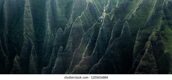 Abrupt mountain peaks near Waialeale volcano, Hawaii