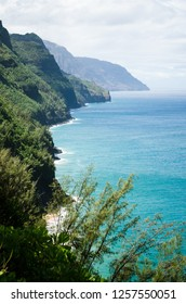 Abrupt mountains and shores seen from a view point in the Kalalau Trail in Kauai, Hawaii, US