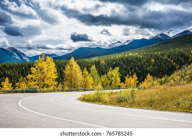 Abrupt turn of the road among the autumn wood. The magnificent Rocky Mountains in Canada. The warm Indian summer in October