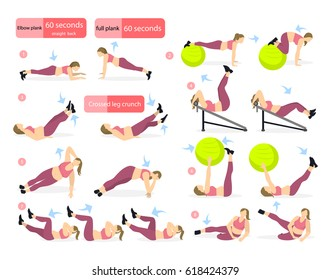 Abs exercises set for fat girl on white background. All fitness workout including crunches, fit ball, bench and more.
