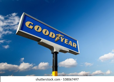 Absecon, NJ, December 10, 2016: Sign for Goodyear tire shop. The Goodyear Tire & Rubber Company is an American tire manufacturing company.