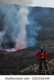 Abseiling into Nyiragongo  DRC on expediton.