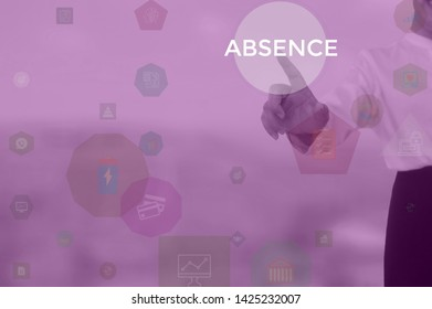 ABSENCE - business concept presented by businessman