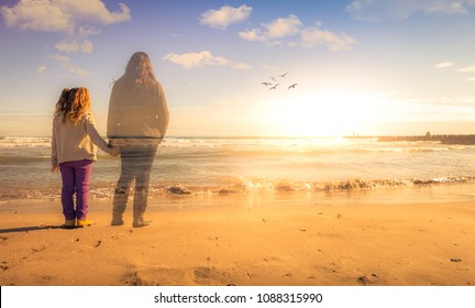 Absence. A girl holds the hand of the spirit of her deceased mother. The two are watching the sunset.