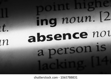 absence word in a dictionary. absence concept.