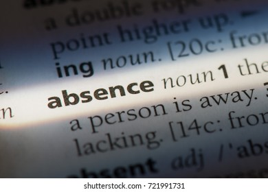 Absence word in a dictionary. Absence concept