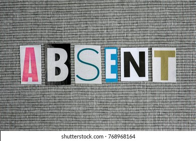 absent word on grey background
