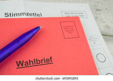 Absentee ballot, documents for elections in Germany, red letter with the German inscription electoral letter