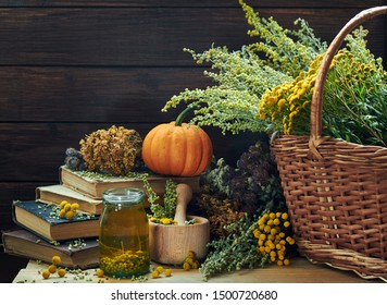 Absinth wormwood plant, tansy, dried St. John's wort, cllover and mifoil, antique vintage books, mortar and tincture nearby wicker basket with herbs  on rustic wooden background, closeup, copy space