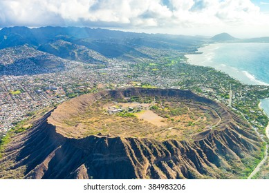 Absolutely amazing aerial view on the Hawaii island with a Diamond head crater and Honolulu city skyline view.