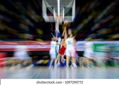 absract zoom in moving basketball game