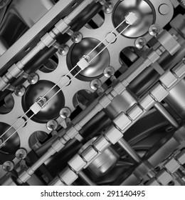 Abstact background. Car engine v8. close up. High resolution 3D