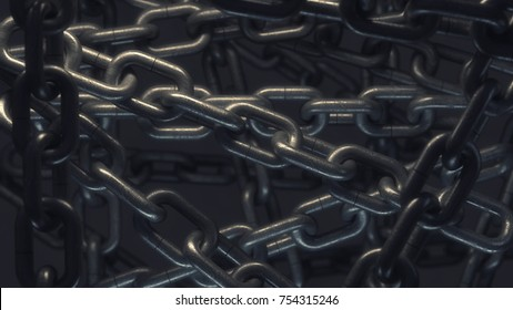 abstact background,  steel chain and a strong link. High resolution 3d render