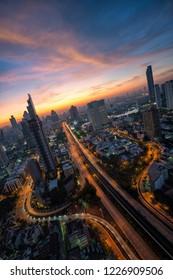 Abstact cityscape at center of Bangkok, Thailand