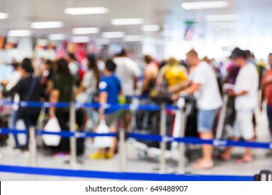Abstrack blur people check in at airport, passenger, que, travel, tourism, business concept